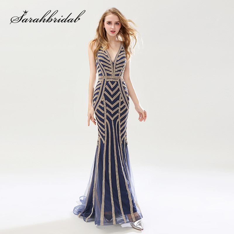 Navy Blue Long   Prom     Dresses   2019 Stunning Beading Crystals Mermaid Vestido Longo Sexy Backless V Neck Party Evening Gowns CXL476