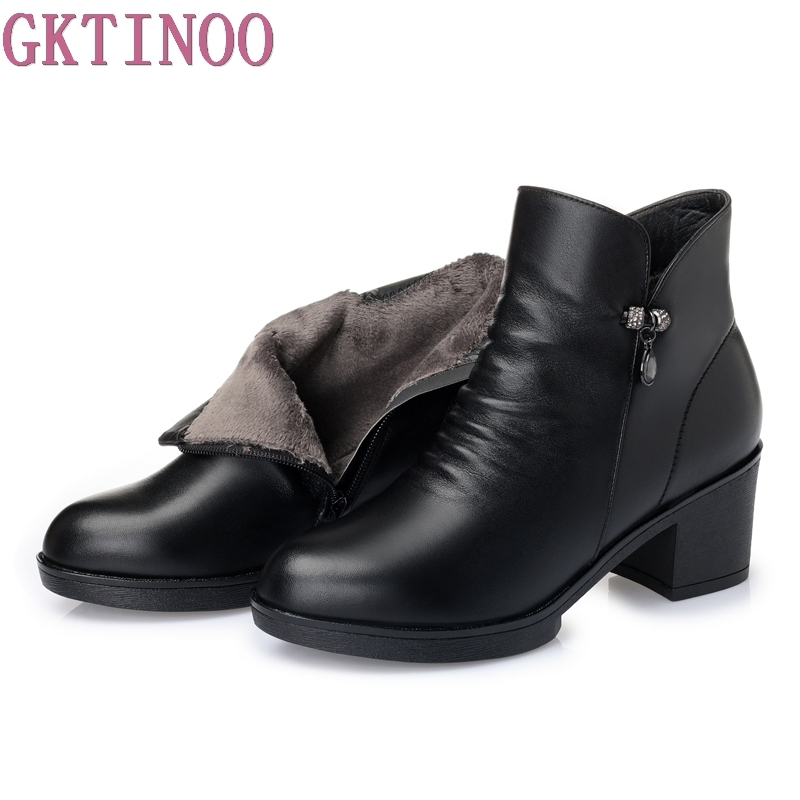 2017 Autumn Winter Shoes Women Ankle Boots 100% Genuine Leather Thick High Heel Warm Cowhide Woman Boots Large Size large size 34 40 2016 fall women ankle boots cowhide soft leather flower genuine leather women short boots flat with shoes lady