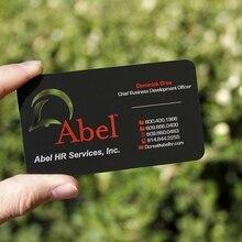 Заказной штампованный логотип матовая черная металлическая визитная карточка