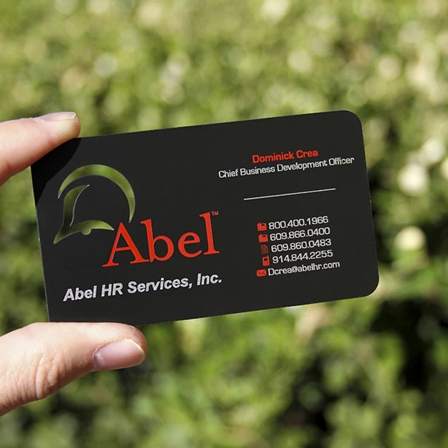 New Customized Logo Die Cut Matte Black Plated Metal Business Card