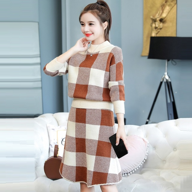 2 Piece Set Women Knitted Sweater And Skirt Dress Suits 2018 New