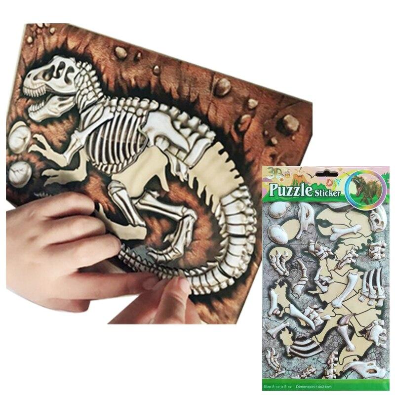 8 Sheets Cartoon Dinosaur Jurassic Animal Kids Toys Educational Toys For Baby PVC Sticker Puzzle