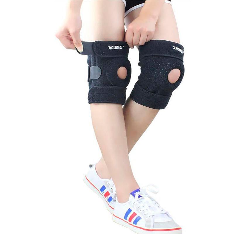 Atmungsaktiv Knie pads mit 4 Quellen Unterstützung Silica gel Brace Schützen Einstellbare Patella Radfahren/Laufen Knie Protector Joelheira