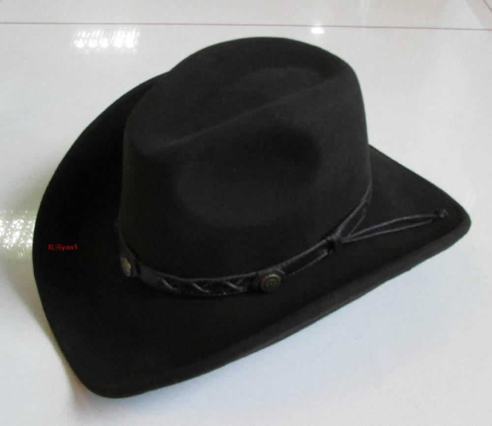 100 Wool Bowler Hat Male Fedoras Cowboy Cap Wide Brim Men s Fashion Watherproof Woolen Cap