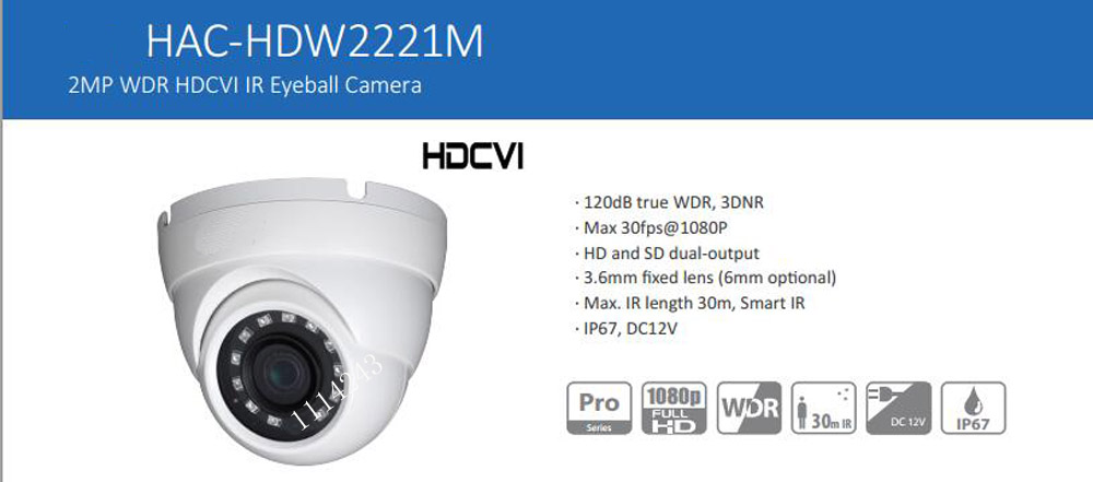 Free Shipping DAHUA CCTV Security Camera 2MP 1080P FULL HD WDR HDCVI IR Eyeball Camera IP67 Without Logo HAC-HDW2221M free shipping dahua cctv camera 4k 8mp wdr ir mini bullet network camera ip67 with poe without logo ipc hfw4831e se