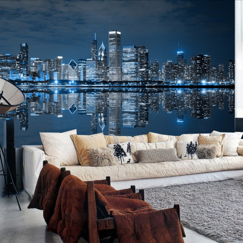 Custom mural wallpaper modern design city night bedroom for Custom mural wallpaper