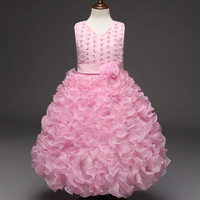 Cute Little Girl Clothes Beautiful Toddler Glitz Pageant Dresses Children Red Beige Hot Pink Pink Tulle