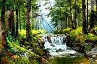 Full Drill Diamond Embroidery Painting Forest Waterfalls Cross Stitch Painting Home Decor Kits Diamond Mosaic Wall