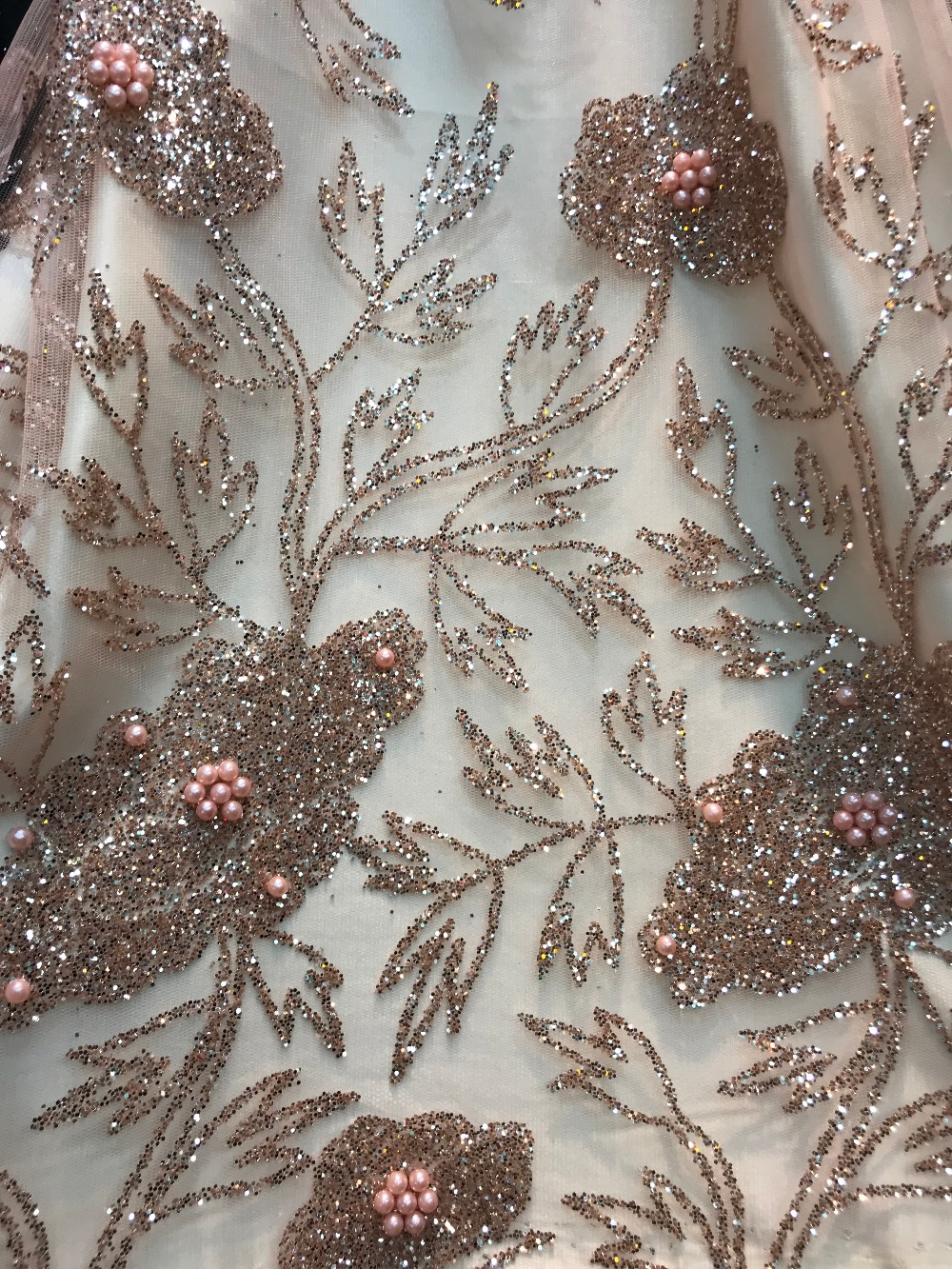JIANXI C 6630 glued glitter Nigerian tulle lace fabric with beads glued glitter african tulle net