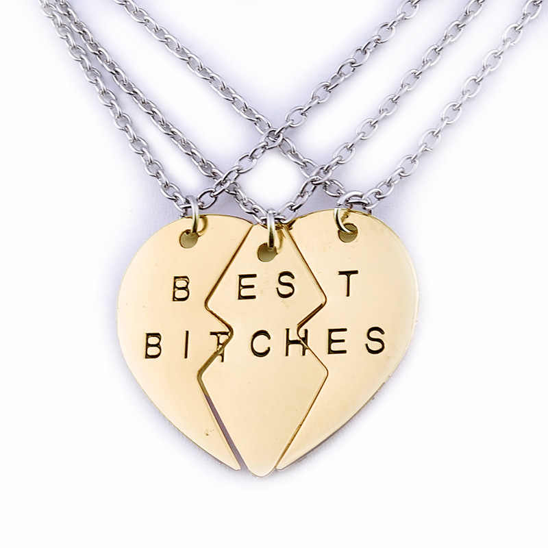 New 3 PC/Set and 2PC/SET Best Bitches Pendant Necklace For Women Broken Heart BFF Best Friends Chain Neckalce