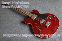 Wholesale Retail Burgundy Classical Hollow Body ES Electric Chinese 4 String Bass Guitar Kits Lefty Available