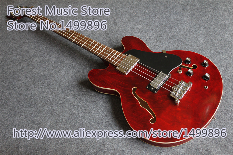Burgundy Classical Hollow Body ES Electric Bass Guitar Chinese 4 String Bass Guitar Kits Lefty Available floral print crew neck long sleeves t shirts