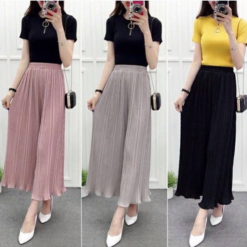 Navy Blue,Black,Pink,Gray,Khaki Sweet Loose Trousers Summer   Pant   Women High Waist Pleated Chiffon   Wide     Leg     Pants   Korean