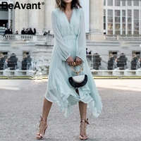 BeAvant Long sleeve chiffon women dress summer 2019 Elegant lace v neck casual dress Asymmetric romantic midi dress mint green