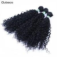 OUBECA 3 Stks/pak Kinky Krullend Zwart Weven Synthetisch Haar Weave Naaien In Jerry Krul Hair Extensions 210g 16-20 inch