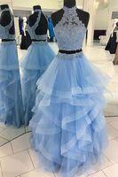 Newest 2 Pieces Prom Dress 2019 vestidos de graduacion Light Blur Graduation Dresses Halter Neck With Applqiues