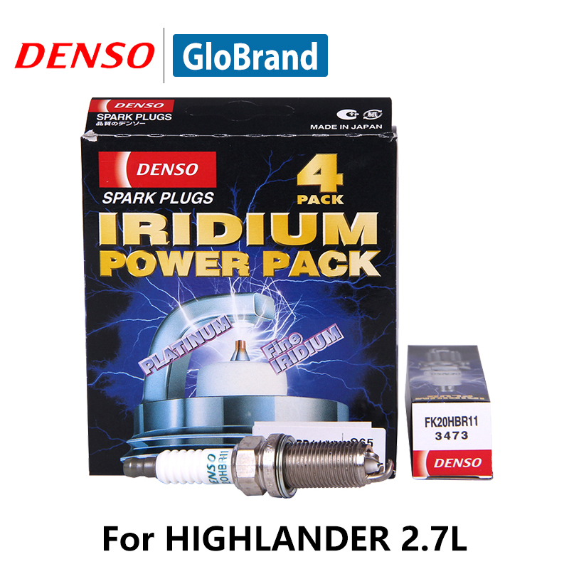4pcs/lot DENSO Car Spark Plug For Toyota HIGHLANDER 2.7L Double Iridium FK20HBR11 iridium spark plugs 4 pack