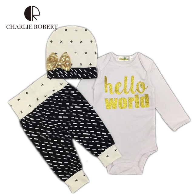 3Pcs Baby Clothing Newborn Infant Bodysuit Pants Hat Set Cotton Baby Long Sleeve Jumpsuit Gift Fashion Costume Boy Girls Clothes
