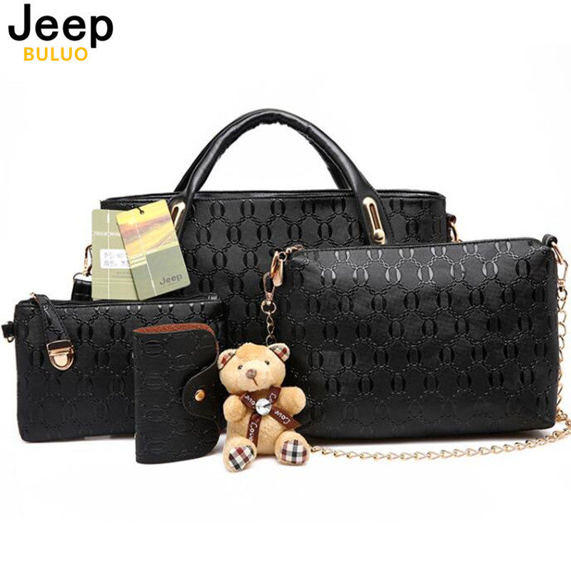 JEEP BULUO Famous Brand Women Bag 2016 Fashion Women Messenger Bags Handbags Leather Female Bag 4 piece Set AW342