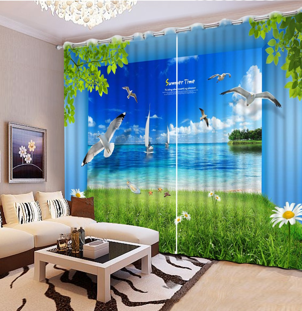 Green Chrysanthemum Seaview 3D Curtains Red Flowers Heart For Living Room Window Treatments Modern Curtains 3D Curtain in Curtains from Home Garden