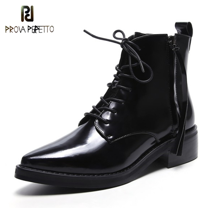 Prova Perfetto New Arrival England Style Concise Patent Leather Lace up Ankle Boot Cool Cross-tied Point Toe Low Heel Rome Boots polaris pmg 2033al