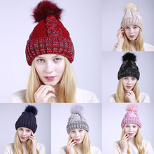 1207a9b48e540 Women Warm Crochet Winter Wool Knit Ski Beanie Caps Hat Hairy Bulb 38(China)