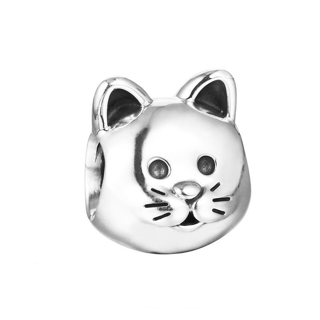 Authentic 925 Sterling Silver Bead Curious Cat Charm Women Fit