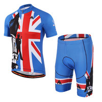 Men Cycling Set Summer Short Sleeves Pro Team Jerseys Bib Shorts Blue Color Cycling Wear Bike