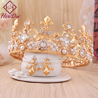 Elegant Retro Style Bride Crown Earrings Set Fashion Alloy Crastal Statement Jewelry Set Graceful Wedding Clothings