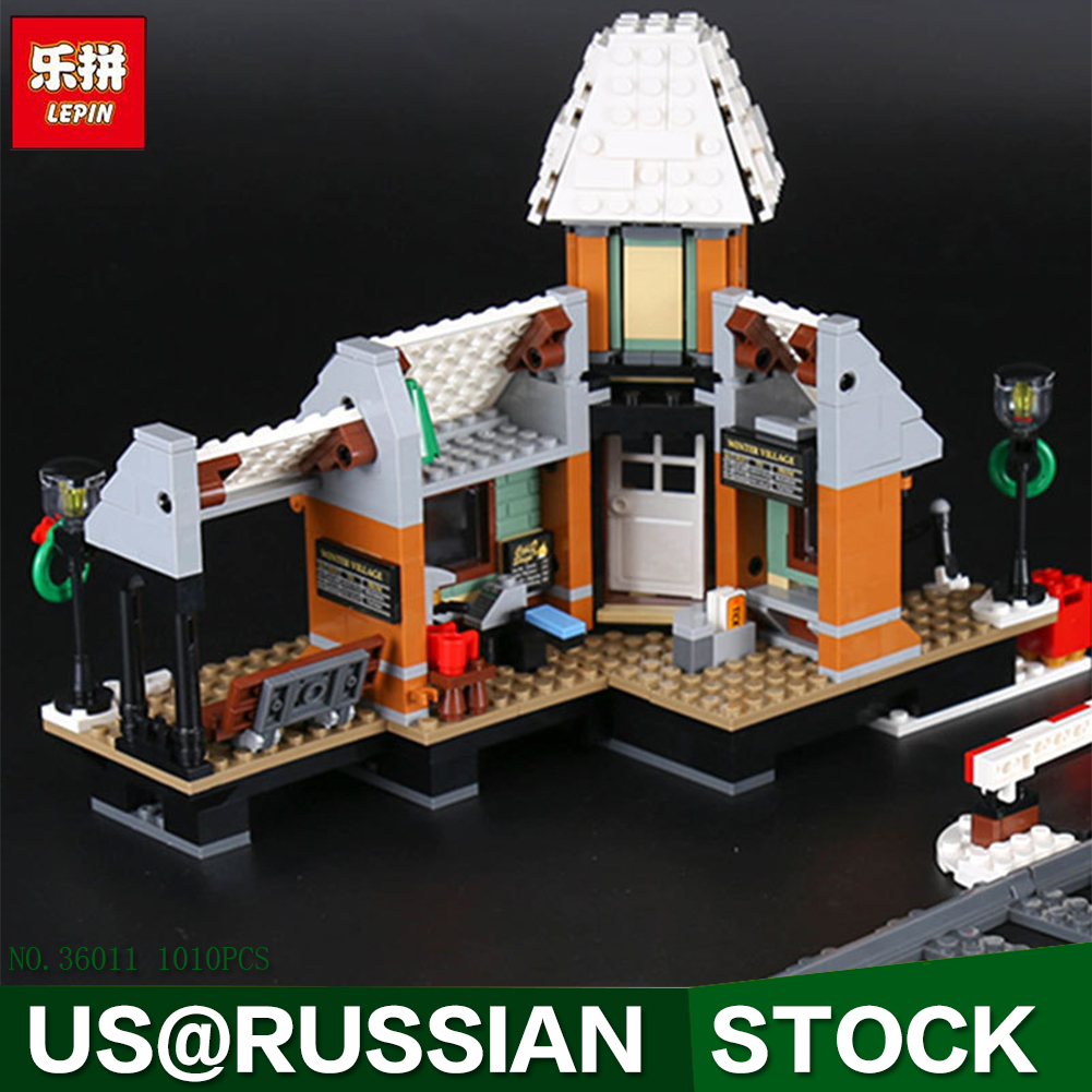 Lepin 36011 Genuine 1010Pcs Creative Series The Winter Village Station Set 10259 Building Blocks Bricks Toys As Christmas Gifts dhl lepin 36001 winter holiday train 36011 winter village station building blocks bricks toys christmas gifts clone 10254 10259