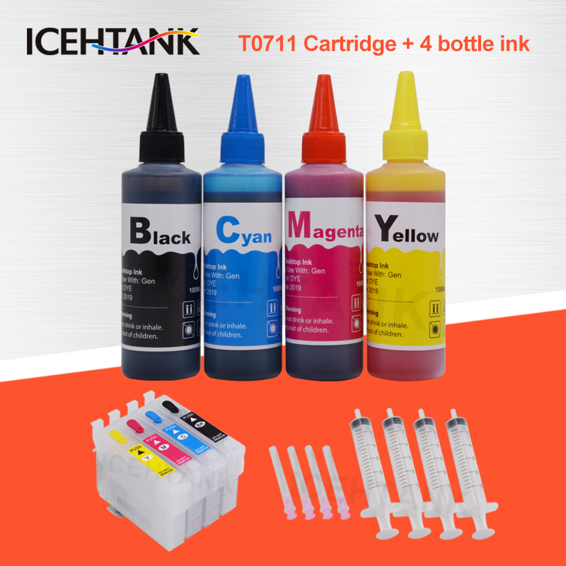 4 Color Ink Cartridge For <font><b>Epson</b></font> T0711 T0715 Office B40W Stylus <font><b>BX300F</b></font> BX310FN BX600FW BX610FW Printer + 100ml Refill Dye Ink image