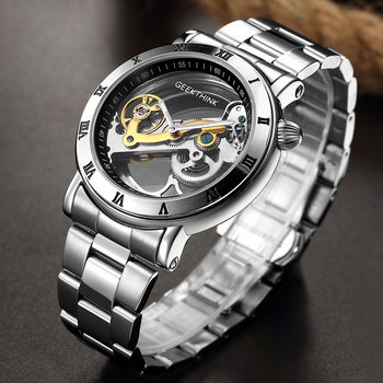 GEEKTHINK Men Gold Transparent Mechanical Watches Male Automatic Self-wind Watch High Quality Hollow Clock Relojes masculinos