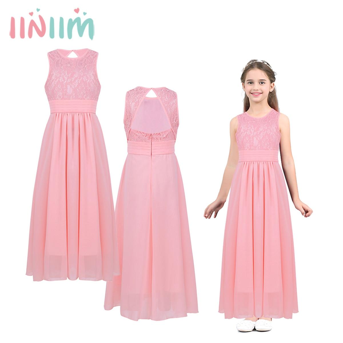 Child Chiffon Sleeveless Cutout Back Side Split Flower Girls Dress Wedding  Bridesmaid Princess Dresses Kids Birthday 667343be6407