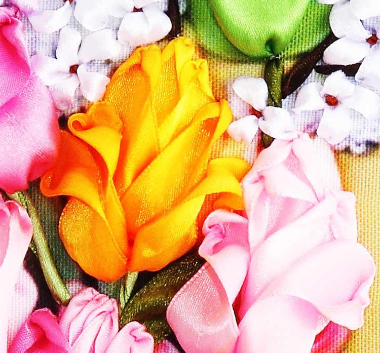Menjahit DIY Pita Cross Stitch Set Untuk Bordir Kit, tulip Rose Bunga Pita Cross-Stitch Pekerjaan Tangan Pernikahan Rumah Dekorasi