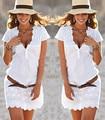 2017 Womens Sexy Short Sleeve Lace Mini Dress Cute Summer Straight Brief White V-Neck Vestido