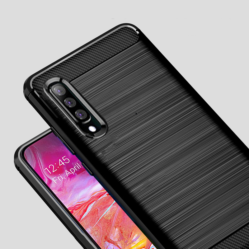 For Samsung Galaxy A70 Case Carbon fiber Cover Shockproof Silicon Phone Case For Galaxy A50  A 70 Cover Full Protection Bumper