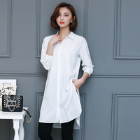 Women Full Sleeve Loose Cotton Split Shirts Female Turn Down Neck Long Blouses