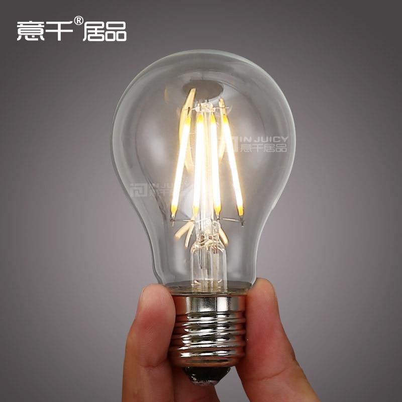 6PCS  RH LOFT 4W A19 Vintage Retro LED  E27 Filament light Bulb Old Fasioned Warm White AC110V Or 220V 5pcs e27 led bulb 2w 4w 6w vintage cold white warm white edison lamp g45 led filament decorative bulb ac 220v 240v