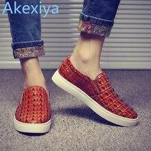 Akexiya 2017 Style De Mode en cuir hommes appartements chaussures Casual Crocodile en cuir Mocassins hommes chaussures Haute Qualité mocassins chaussures