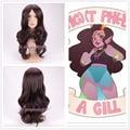 Free shipping   Homestuck Feferi Cosplay Wig dark Brown Long Wavy curly Synthetic Wigs+a wig cap