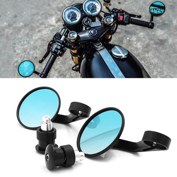 Universal 7/8 Round Bar End Rear Mirrors Moto Motorcycle Motorbike Scooters Rearview Mirror Side View Mirrors FOR Cafe Racer pair motorcycle blue mirrors aluminum black round cnc rear view handle bar end 7 8