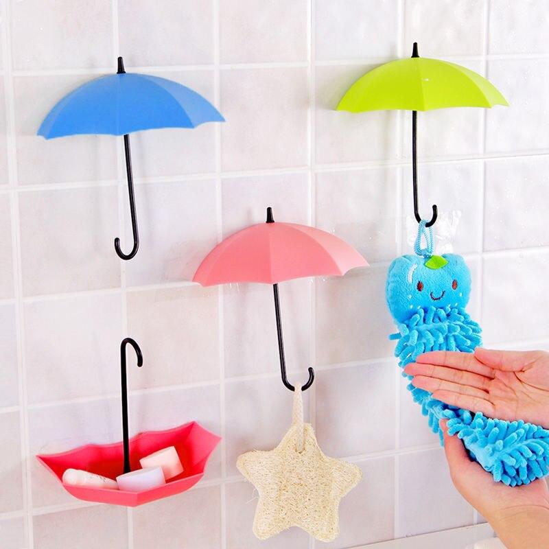 3Pcs Colorful Umbrella Wall Hook Key Hair Pin Holder Organizer Decorative Brand New Umbrella Wall Hooks