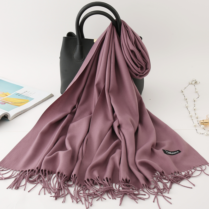 2019 winter   scarf   solid thick women cashmere   scarves   neck head warm hijabs pashmina lady shawls and   wraps   bandana Tassel