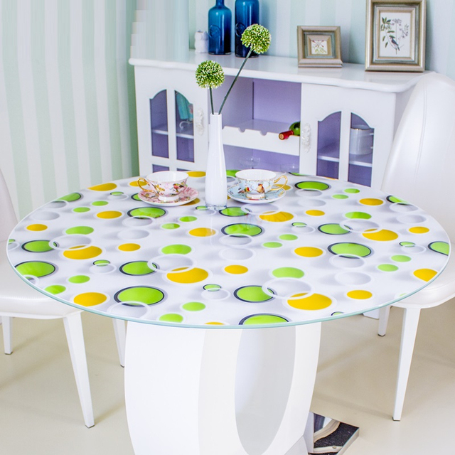 kitchen home Dining waterproof anti scald floral crystal transparent oil proof round PVC placemat mat cover table cloth
