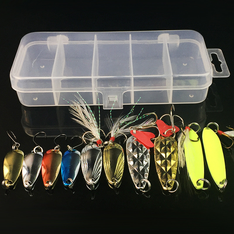 10Pcs/Box Metal Spoon Fishing Lures Set in Plastic Fishing Tackle Box Spinner Bait Spoon Lure Jig Fishing Accessories On Sale 5 pcs hot sale top mouse mice lure fishing soft bait fishing tackle box accessory tool metal spoon fishhook