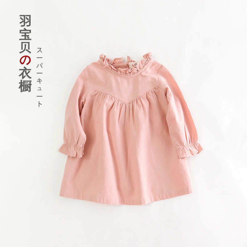 2016 NEW Autumn Quality Long-sleeved Cotton Children Sweet Solid Color Baby Children Kids Girls Dress цены онлайн