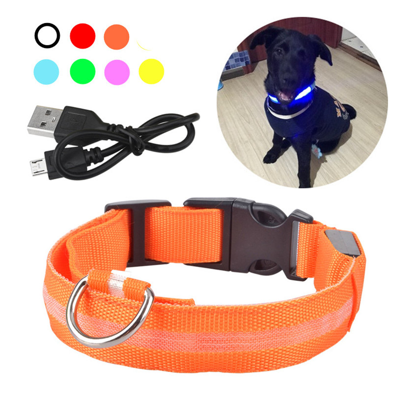 Usb Rechargable Dog Led Flashing Collar Pet Cat Luminous Collar Glowing Necklace Outdoor Anti-lost Night Safety For Dog Walking