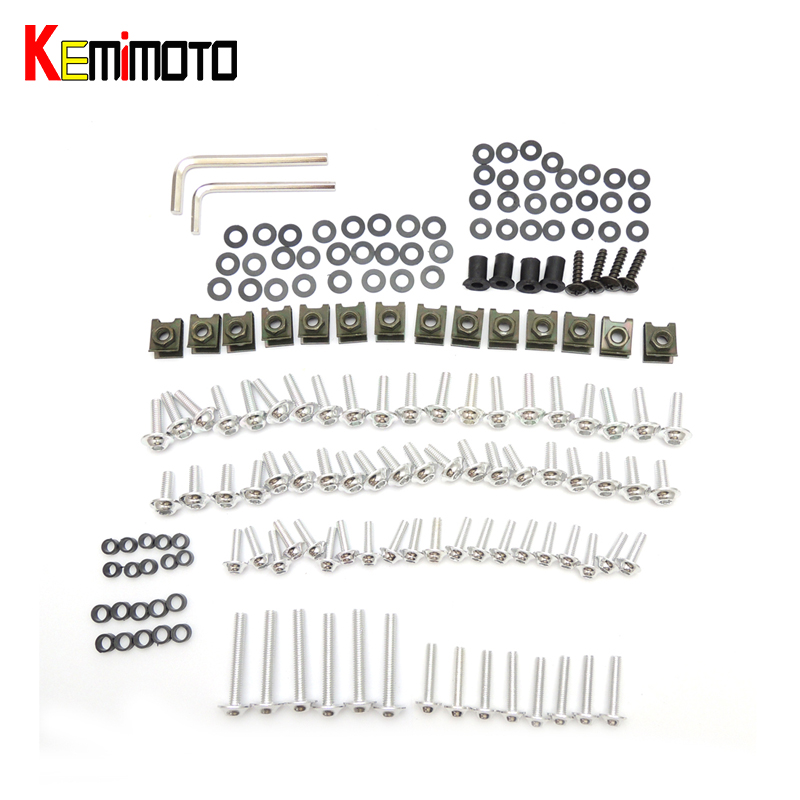 KEMiMOTO Complete Fairing Bolts Sets Universal Body Screws fit for Yamaha MT07 R25 for Honda CBR600RR 1 SET universal motorcycle fairing body work bolts fastener clips screws for yamaha fz6 fazer 2004 2010 tmax 530 2012 2014 mt 09