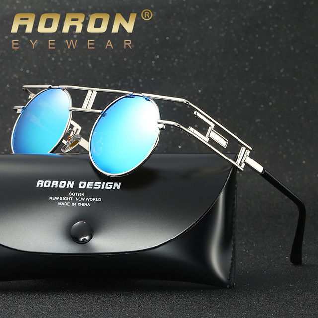1396b3f2a1 AORON Quality Metal Frame Steampunk Sunglasses Women Brand Designer Round  Men Gothic Sun glasses Vintage Eyeglasses
