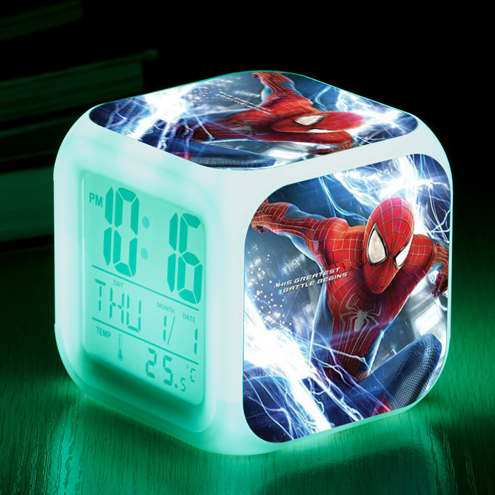 The Avengers Super Hero Spiderman LED 7 Colors Flash Light Digital Alarm clock Kids Bedroom Wake Up light Clocks Action Figures